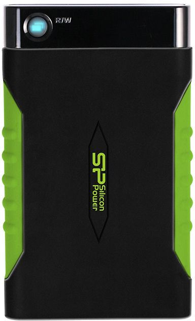 Внешний жесткий диск SILICON POWER Armor A15, 2Тб, черный/зеленый [sp020tbphda15s3k]