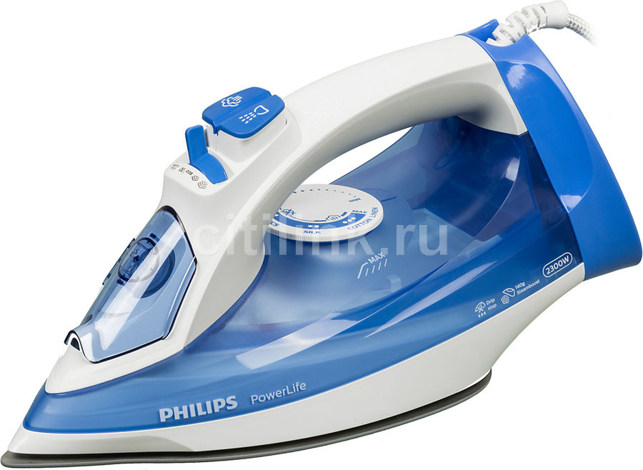 Утюг PHILIPS GC2990/20,  2300Вт,  синий/ белый