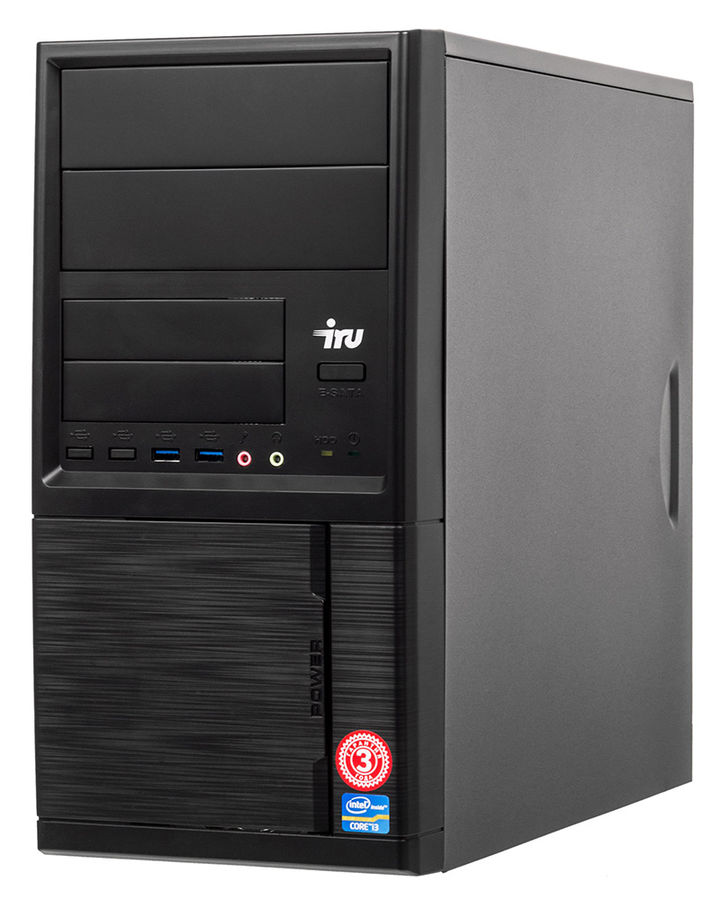 Компьютер  IRU Office 313,  Intel  Core i3  7100,  DDR4 4Гб, 120Гб(SSD),  Intel HD Graphics 630,  Windows 10 Professional,  черный [1005818]