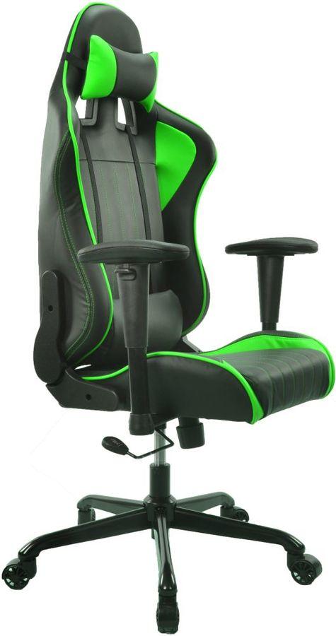 Кресло игровое БЮРОКРАТ CH-774, на колесиках, искусственная кожа, черный/зеленый/зеленый [ch-774/bl+gr]
