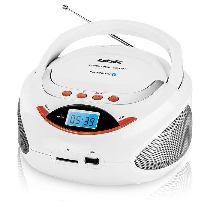 Аудиомагнитола BBK BS09BT,  белый и оранжевый