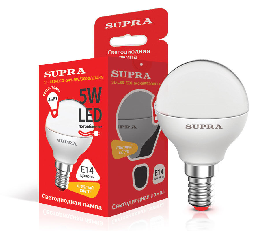 Лампа SUPRA SL-LED-ECO-G45, 5Вт, 400lm, 25000ч,  3000К, E14,  1 шт. [10225]