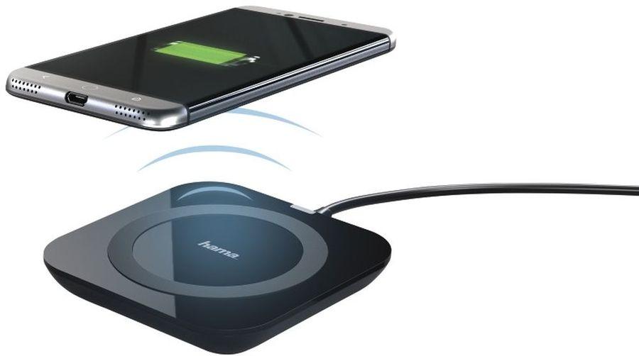 Беспроводное зарядное устройство HAMA Basic Pro Qi,  microUSB,  1A,  черный