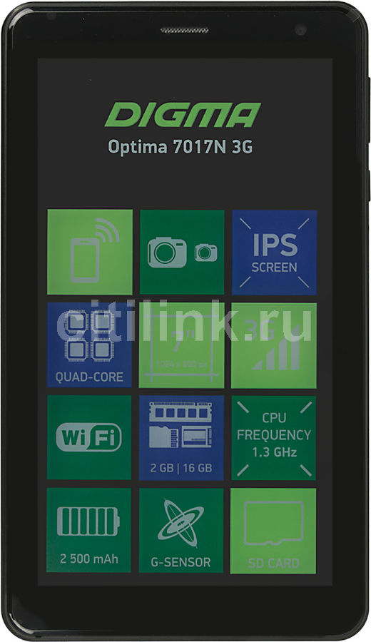"Планшет Digma Optima 7017N 3G MT8321 4C/2Gb/16Gb 7"" IPS 1024x600/3G/And7.0/черный/BT/GPS/2Mpix/0.3Mp [ts7177mg]"