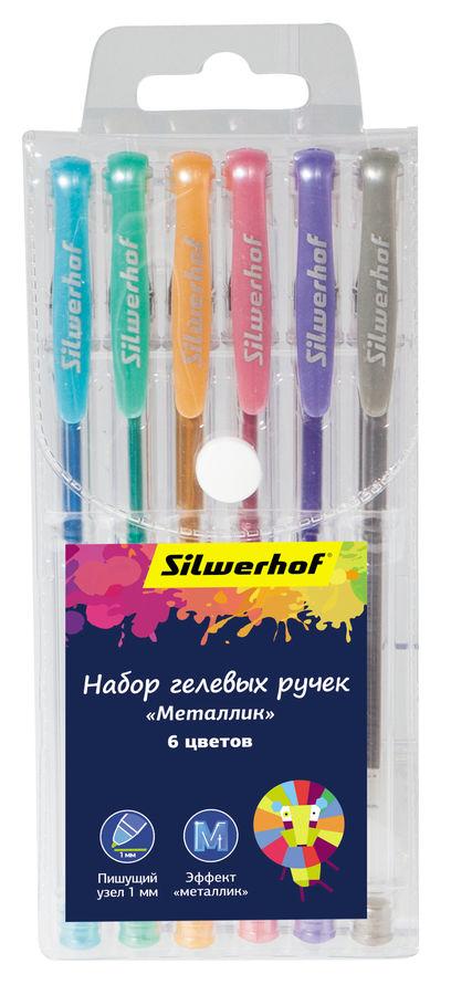 Набор гелевых ручек Silwerhof METALLIC (026163-06) Цветландия 1.0мм 6цв. блист.европод.