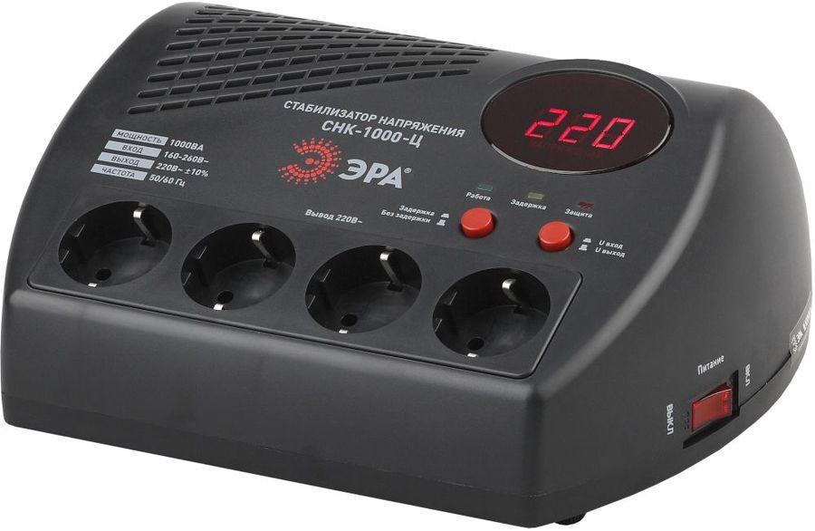 Стабилизатор напряжения ЭРА СНК-1000-Ц,  черный