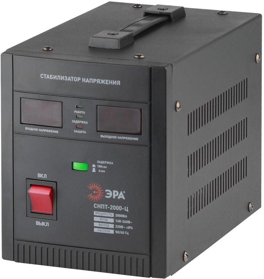 Стабилизатор напряжения ЭРА СНПТ-2000-Ц,  черный