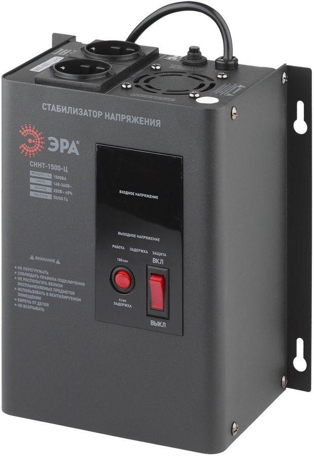 Стабилизатор напряжения ЭРА СННТ-1500-Ц,  черный