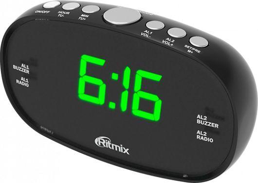 Радиобудильник RITMIX RRC-616, зеленая подсветка,  черный