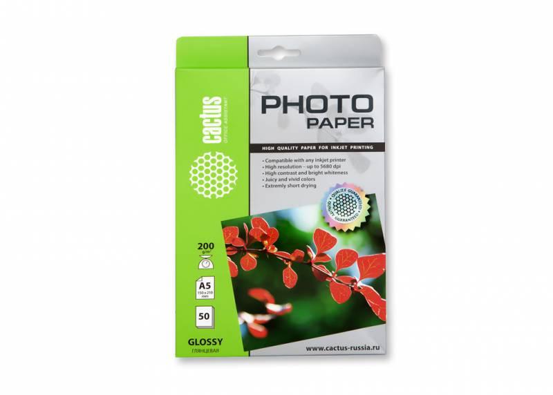 Фотобумага Cactus CS-GA520050 A5/200г/м2/50л./белый глянцевое для струйной печати