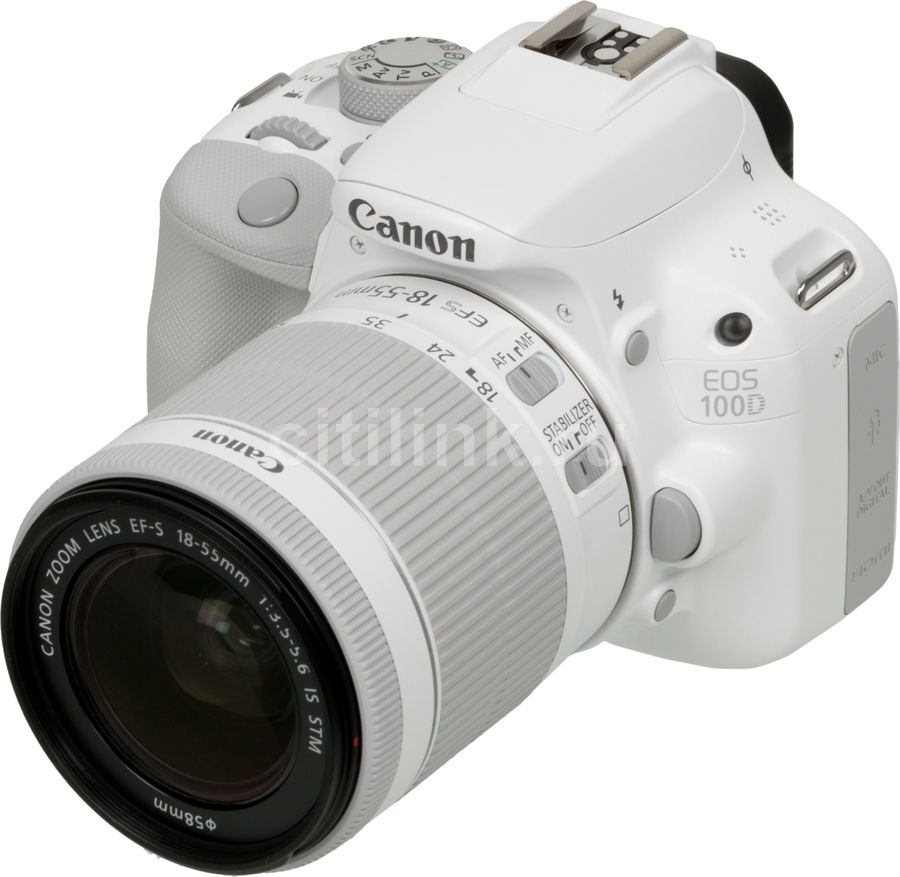 Зеркальный фотоаппарат CANON EOS 100D kit ( EF-S 18-55mm f/3.5-5.6 IS STM),  белый