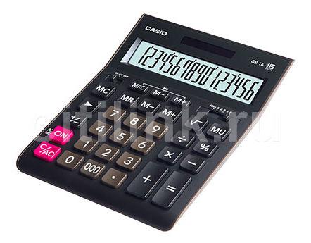 Калькулятор CASIO GR-16,  16-разрядный, черный