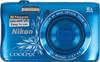"""Фотоаппарат Nikon CoolPix S3700 синий/рисунок 20.1Mp 8x 2.6"""" 720p 25Mb SDXC WiFi E (отремонтированный) вид 1"""