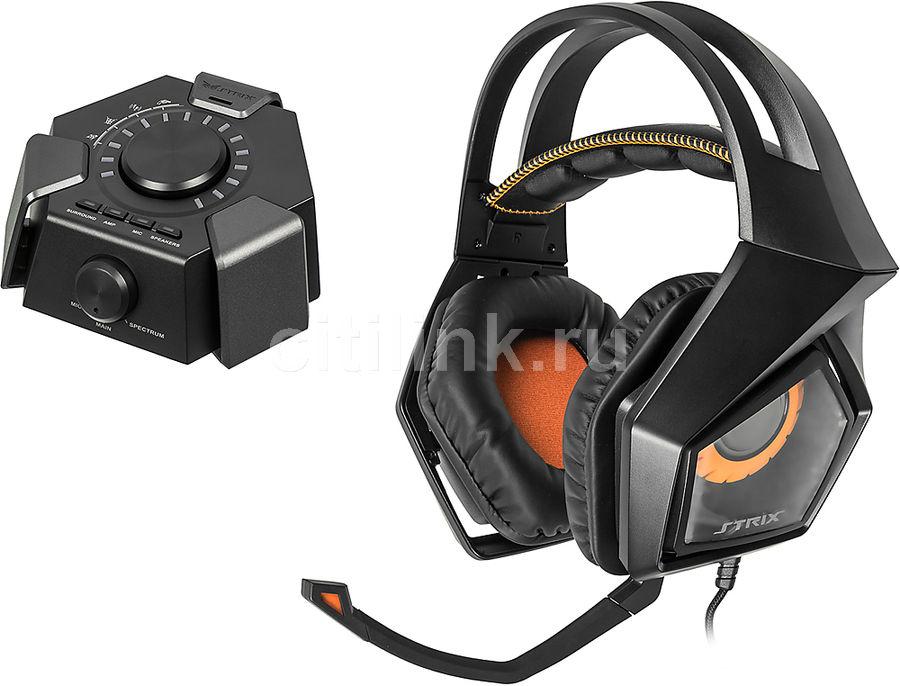 Наушники с микрофоном ASUS Strix DSP,  мониторы, черный  [90yh00a1-m8ua00]