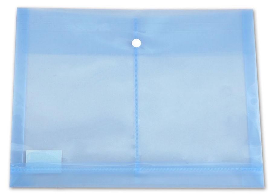 Конверт на кнопке Бюрократ -PK860BLU/1 A4 гориз. расшир. пластик 0.18мм синий