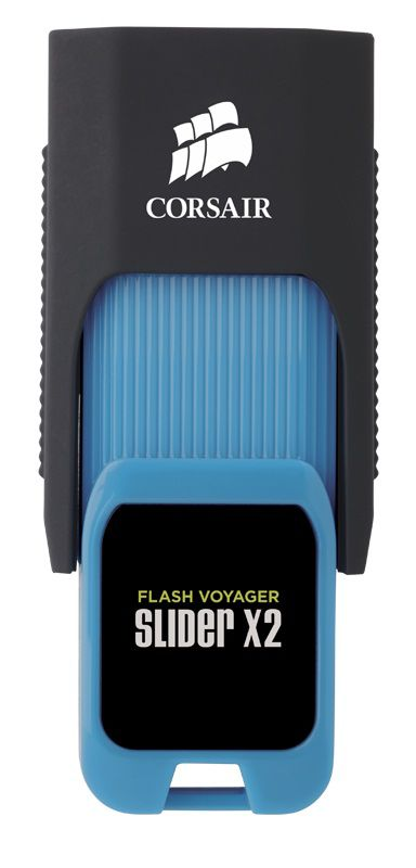 Флешка USB CORSAIR Voyager Slider X2 16Гб, USB3.0, черный и голубой [cmfsl3x2-16gb]
