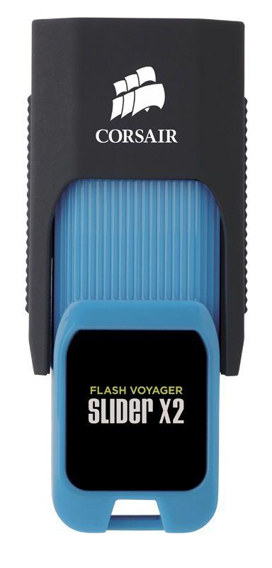 Флешка USB CORSAIR Voyager Slider X2 32Гб, USB3.0, черный и голубой [cmfsl3x2-32gb]