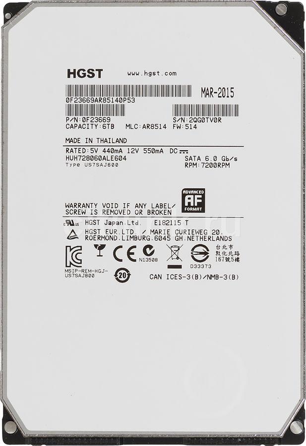 Жесткий диск HGST Ultrastar HE8 HUH728060ALE604,  6Тб,  HDD,  SATA III,  3.5