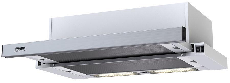 Вытяжка встраиваемая Krona Kamilla 600 нержавеющая сталь/белый управление: кнопочное (2 мотора) [2901]