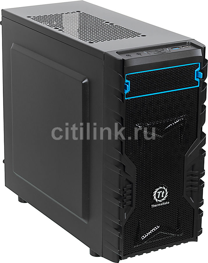 Корпус mATX THERMALTAKE Versa H13, Micro-Tower, без БП,  черный