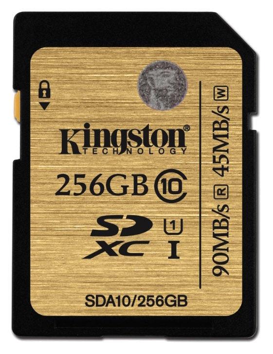 Карта памяти SDXC UHS-I KINGSTON 256 ГБ, Class 10, SDA10/256GB,  1 шт.