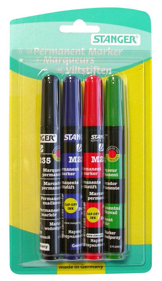 Набор маркеров перманентных Stanger M235 712012 круглый пиш. наконечник 1-3мм 4цв.