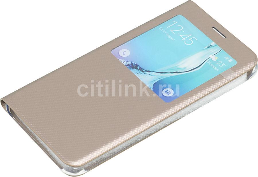 Чехол (флип-кейс) SAMSUNG S View G928, для Samsung Galaxy S6 Edge Plus, золотистый [ef-cg928pfegru]
