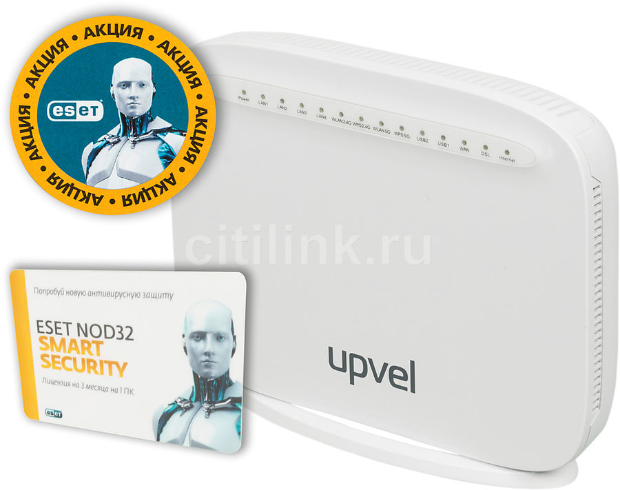 Беспроводной маршрутизатор UPVEL UR-835VCU,  ADSL2+,  белый [ur-835vcu universal_citilink]