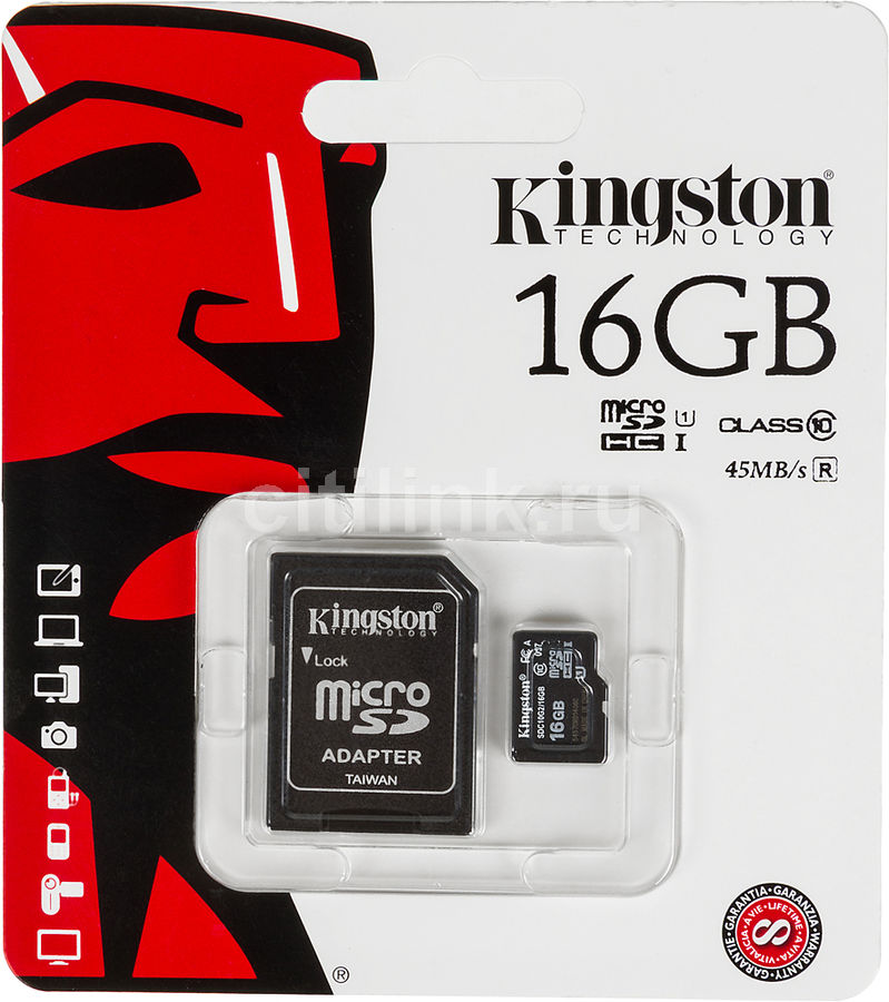 Карта памяти microSDHC UHS-I KINGSTON 16 ГБ, 45 МБ/с, Class 10, SDC10G2/16GB,  1 шт., переходник SD
