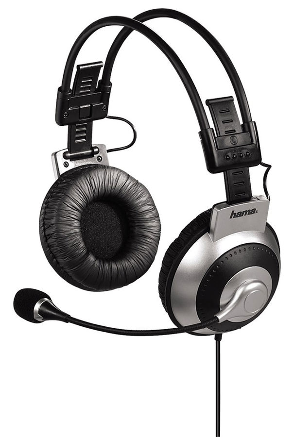 Наушники с микрофоном HAMA HS-400,  мониторы, черный  / серый [00053988]