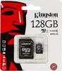 Карта памяти microSDXC UHS-I KINGSTON 128 ГБ, 45 МБ/с, Class 10, SDC10G2/128GB,  1 шт., переходник SD вид 1