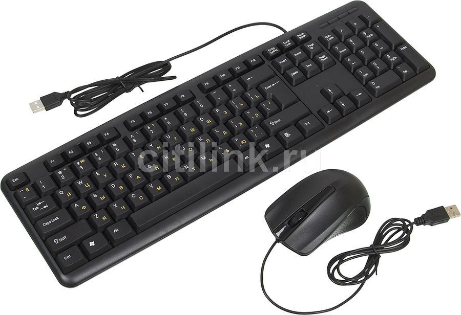Комплект (клавиатура+мышь) OKLICK 601M IRU, USB, проводной, черный [mk-5330]