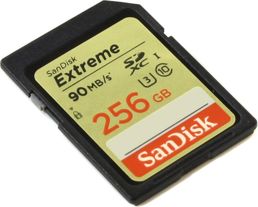 Карта памяти SDXC UHS-I U3 SANDISK Extreme 256 ГБ, 90 МБ/с, 90X, Class 10, SDSDXNF-256G-GNCIN,  1 шт.