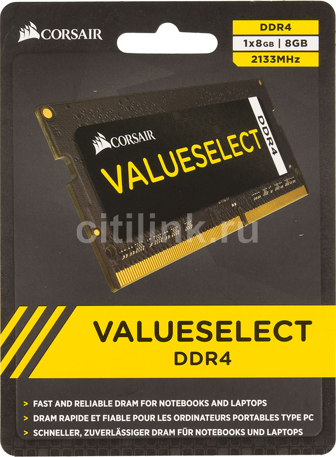 Модуль памяти CORSAIR CMSO8GX4M1A2133C15 DDR4 -  8Гб 2133, SO-DIMM,  Ret