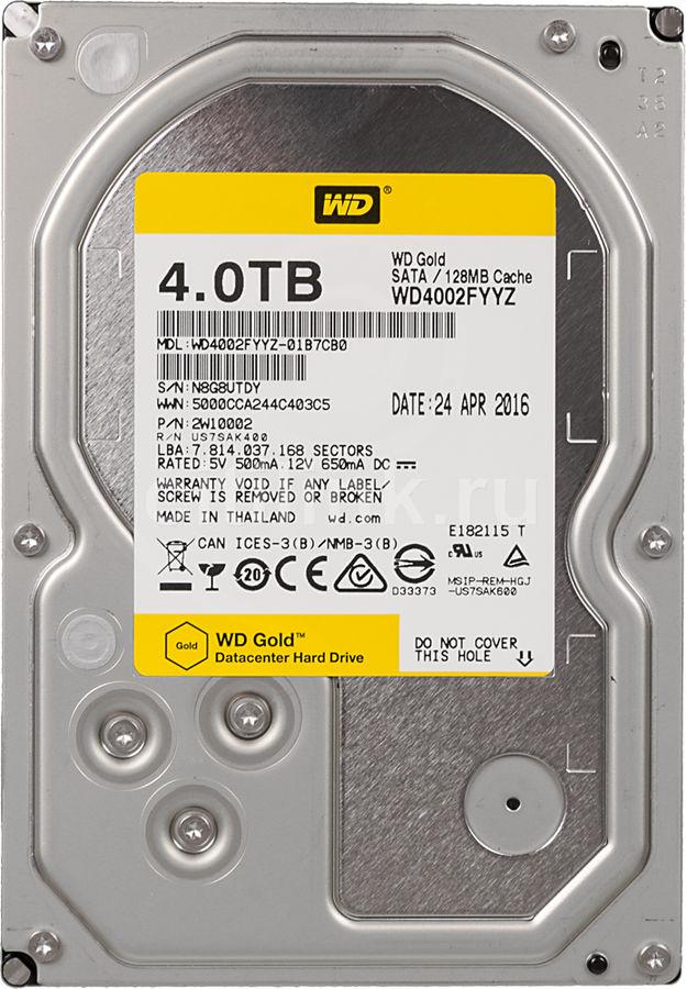 "Жесткий диск WD Gold WD4002FYYZ,  4Тб,  HDD,  SATA III,  3.5"""