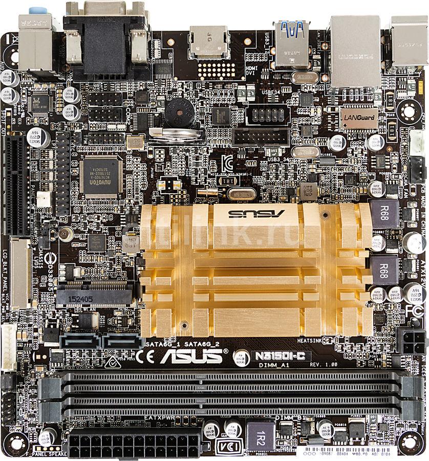 Материнская плата Asus N3150I-C 2xDDR3 mini-ITX AC`97 8ch(7.1) GbLAN+VGA+HDMI (отремонтированный)