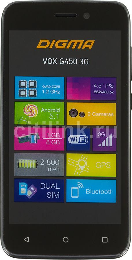 "Смартфон Digma VOX G450 3G 8Gb графит моноблок 3G 2Sim 4.5"" 480x854 And5.1 5Mpix WiFi BT GPS(Б/У)"