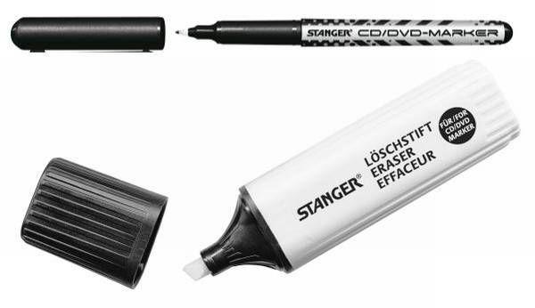 Маркер для CD/DVD Stanger 710003 (толщина линии 0,5мм) черный +стиратель блистер