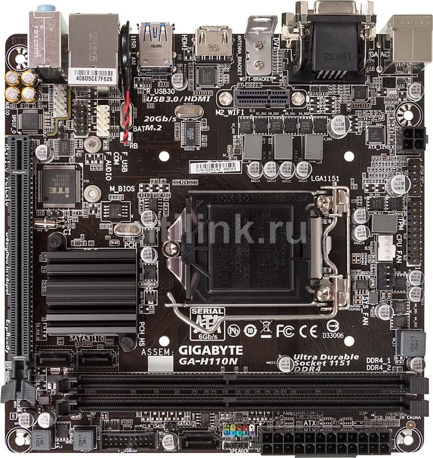 Материнская плата Gigabyte GA-H110N Soc-1151 Intel H110 2xDDR4 mini-ITX AC`97 8ch( (отремонтированный)