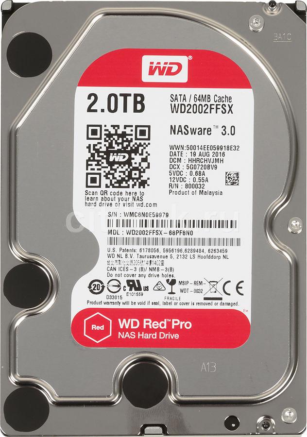 Жесткий диск WD Red Pro WD2002FFSX,  2Тб,  HDD,  SATA III,  3.5