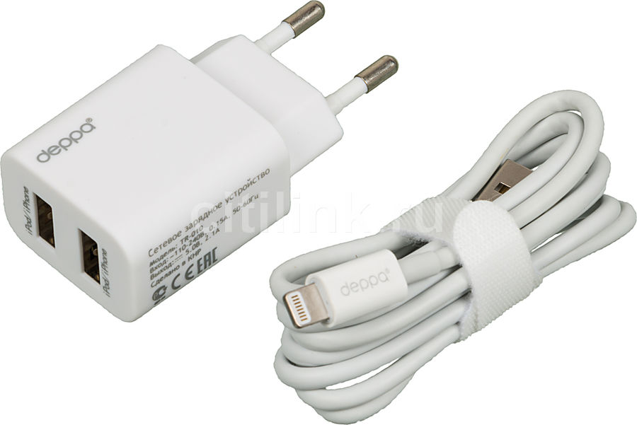 ������� �������� ���������� DEPPA GA-3208UB, 2xUSB, 8-pin Lightning (Apple), 2.1A, �����