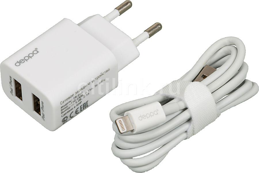 Сетевое зарядное устройство DEPPA GA-3208UB,  2xUSB,  8-pin Lightning (Apple),  2.1A,  белый