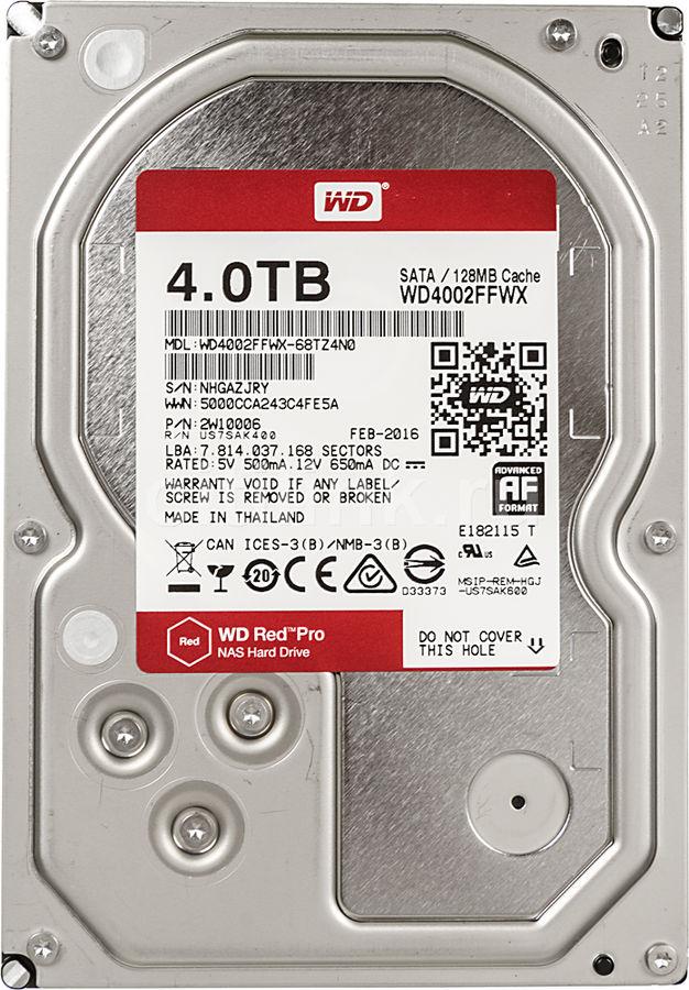"Жесткий диск WD Red Pro WD4002FFWX,  4Тб,  HDD,  SATA III,  3.5"""