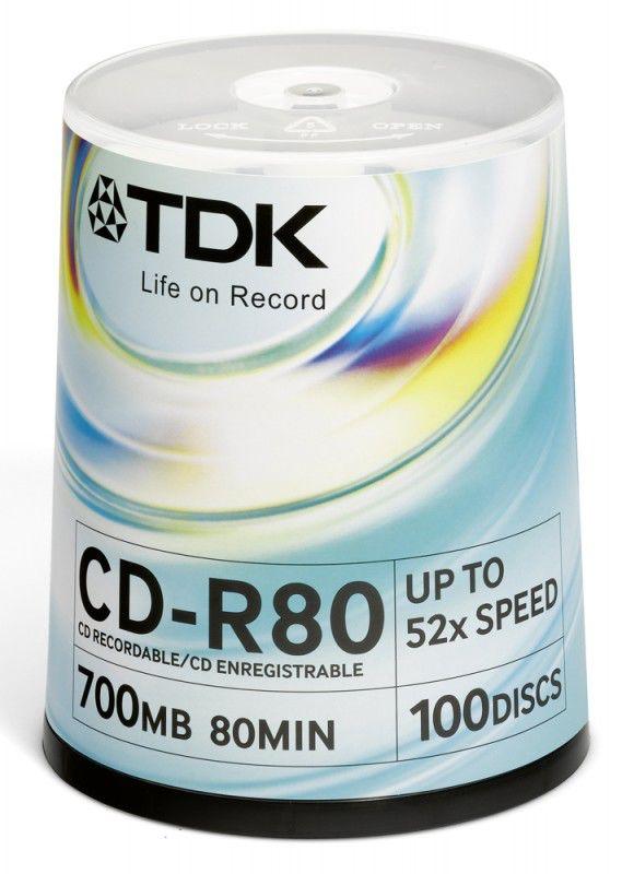 Оптический диск CD-R TDK 700Мб 52x, 100шт., cake box