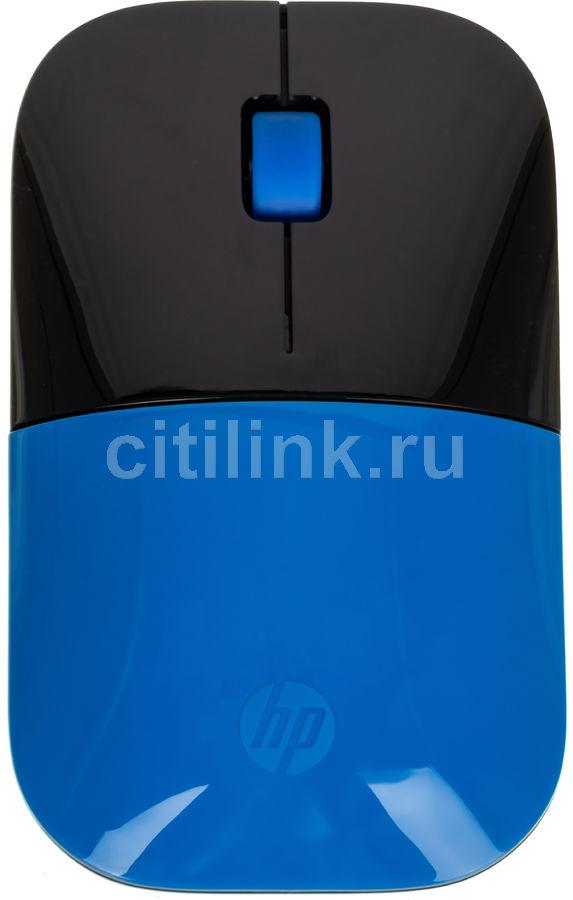 Мышь HP z3700 оптическая беспроводная USB, синий и черный [v0l81aa]
