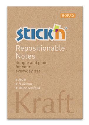 Блок самоклеящийся бумажный Stick`n 21638 76x51мм 100лист. 62г/м2 Kraft Notes