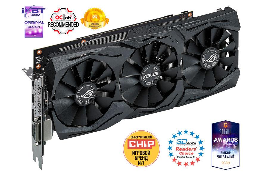 Видеокарта ASUS nVidia  GeForce GTX 1070 ,  STRIX-GTX1070-O8G-GAMING,  8Гб, GDDR5, OC,  Ret