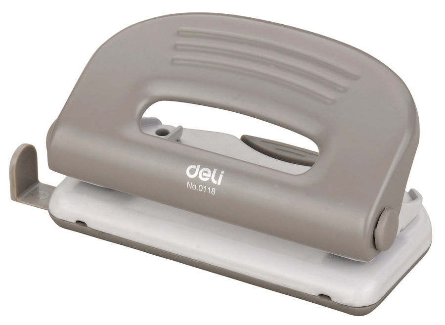 Дырокол Deli PRO E0118 макс.:10лист. металл ассорти отв.:2 с линейкой
