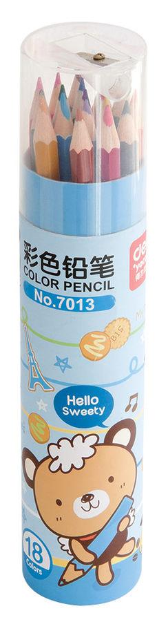 Карандаши цветные Deli E7013 шестигран. 18цв. точилка карт.тубус