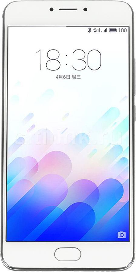 Смартфон Meizu L681H M3 Note 32Gb серебристый/белый моноблок 3G 4G 2Sim 5.5